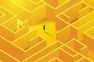 Businesswoman stands inside  to a large complex labyrinth. vector