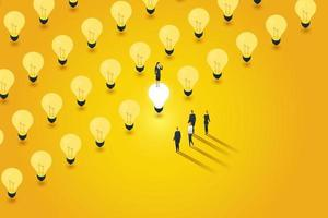 Creative business leaders choose to turn on one light bulb. vector