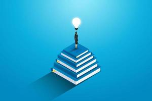Businesswoman standing on top stack  books with lightbulbs. vector