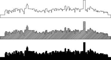 Simplicity outline Hong Kong business district skyline. vector