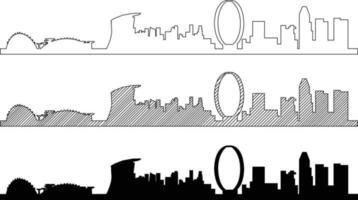 Simplicity outline Singapore business district skyline vector