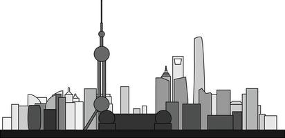 Simplicity outline Shanghai business district skyline vector