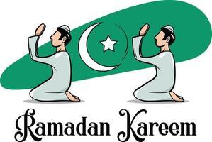 Ramadan Kareem or Ramadan Mubarak Crescent moon men praying to god vector