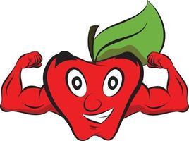 Healthy Apple Characters for kids books. Healthy Kawaii food. vector