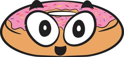 Cute Tasty Doughnut with strawberry frosting and sprinkles. Cute food. vector