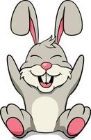 Easter Bunny Rabbit with Egg Basket. Cute Rabbit Character. vector