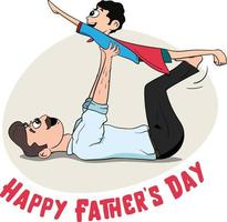 Free Happy Father's Day. Father dressed as a superhero with a cape. vector
