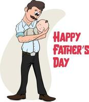 Happy Father's Day Father holding baby girl in hands. Happy Father. vector