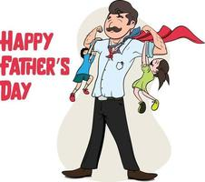 Happy Father's Day. Father playing with daughter and son. Family Time. vector