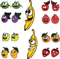 Happy Angry Fruits and Vegetables Fruits with different Expressions vector