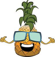 Cute Party Pineapple with Sunglasses. Positive Vibes Happy Thoughts. vector