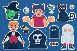 Halloween Costume Sticker Set vector