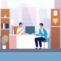 Businessman interview Male character in boss cabinet recruitment vector