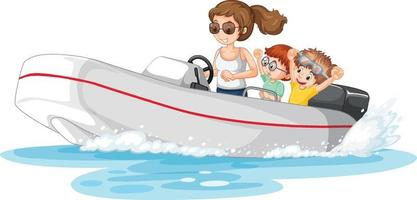 A woman driving speedboat with children vector