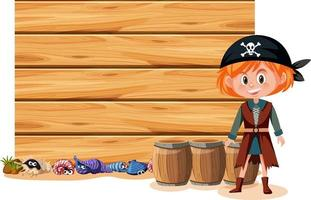 A pirate girl with an empty banner isolated on white background vector