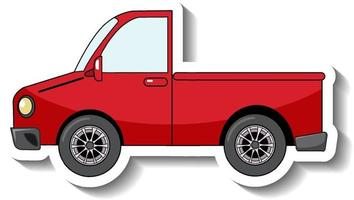 Sticker template with a red pick up car isolated vector