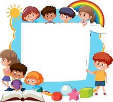 Frame template with school kids cartoon character vector