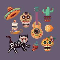 The Day of The Dead Sticker Set vector