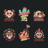 Set of Day of The Dead Sticker vector
