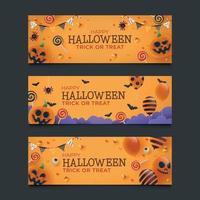 Set of Halloween Banner vector