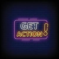 Obtener acción letreros de neón estilo vector de texto