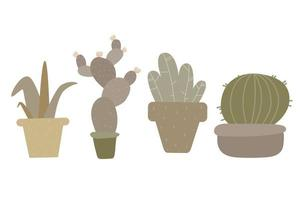 trendy home decor with plants, planters, cacti vector