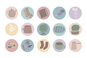 Hand painted vector home office workplace objects illustration
