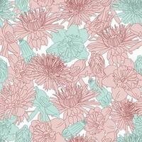 gran flor vintage línea arte patrón floral transparente vector