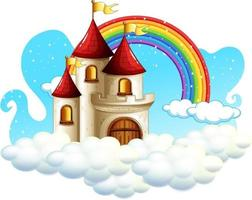 Castle with rainbow on the cloud isolated on white background vector