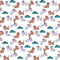 Seamless pattern Cute kitty couple small friends vector