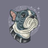 cool pug head illustration vector grunge style