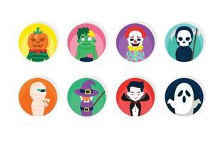 lindo traje plano conjunto de iconos de halloween vector