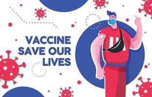 hombre salvar vivo después de la vacuna covid19 vector