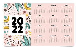 Hand Drawn Abstract 2022 Calendar vector