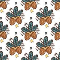 Christmas seamless pattern leaves and pine nuts vector