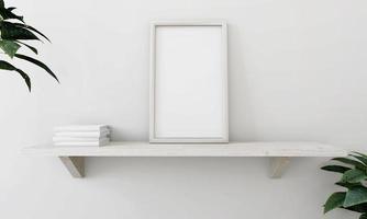 marco de fotos colocado en el estante con macetas.