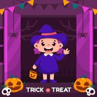 Trick or Treat with Kid with Witch Costume vector