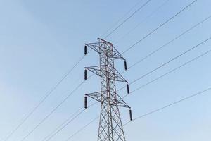 High-voltage power lines electricity transmission pylon photo