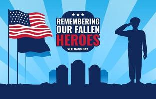 Silhouette of Soldier Salutes on Veterans Day vector