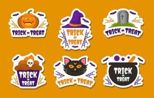 colección de pegatinas de truco o trato de halloween vector