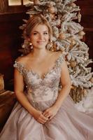 Christmas, winter holidays concept. Beautiful woman photo
