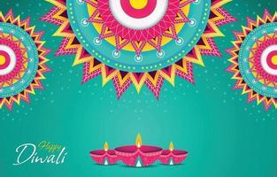 Colorfull Diwali Celebration with Colorfull Mandala Concept vector