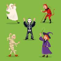 Halloween Costume Party Characters Set vector