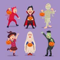 Halloween Costume Party Character Set vector