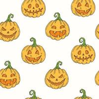 Seamless pattern with Halloween colored pumpkin Jack in sketch style. vector