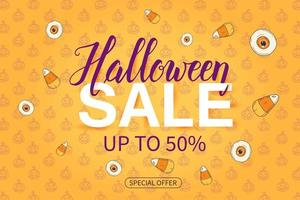 Halloween Sale poster with lUp to 50. Special offer vector