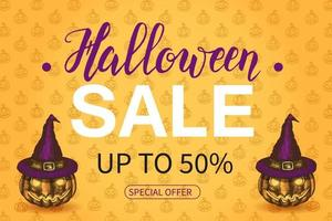 Halloween Sale poster with lettering  with Jack lamp in sketch style. vector