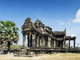 Angkor Wat famous Buddhist old landmark temple ruins detail near Siem Reap Cambodia photo