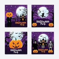 Happy Halloween Party Social Media Post vector