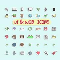 sticker design icon set of ui and internet vector